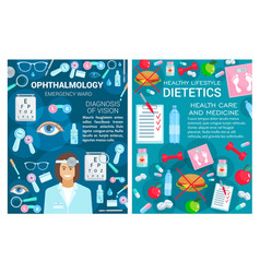 ophthalmology and dietetics medicine doctor vector image