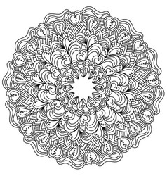 Ornate mandala with hearts for valentines day vector