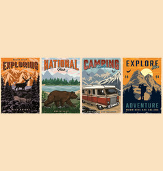 outdoor recreation colorful posters vector image
