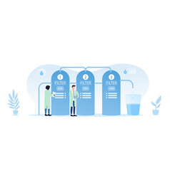 People in lab coats and water purification filter vector