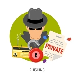 Phishing concept icons vector