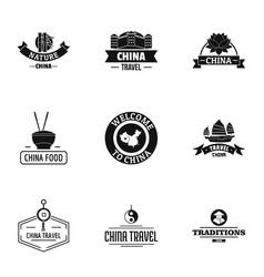 Porcelain logo set simple style vector