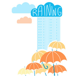 Rain background with clouds and umbrellas vector