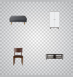realistic footstool furniture seating and other vector image