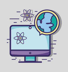 Screen computer with global planet and atom vector