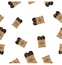 Seamless pattern with coffee bean on paper bag vector