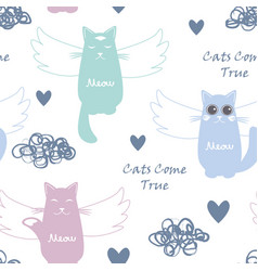 seamless pattern with flying cats vector image
