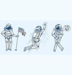 set astronauts in space collection soaring vector image