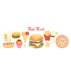 set lovely fast food food isolated on white vector image