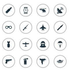 set of 16 simple army icons can be found such vector image