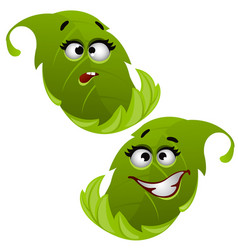 Set of funny laughing green tree leaf isolated on vector