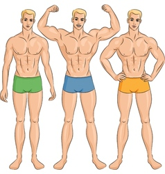 Set young athletic guys in shorts vector
