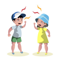 small angry kids quarrel vector image