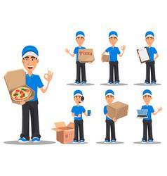 Smiling delivery man in blue uniform set vector