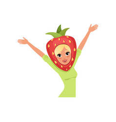 Smiling woman character in strawberry headwear vector