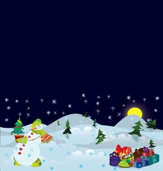 Snowman and Christmas tree in the pot banner vector image