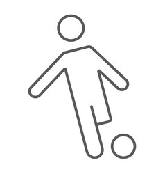 soccer player thin line icon kickball and sport vector image