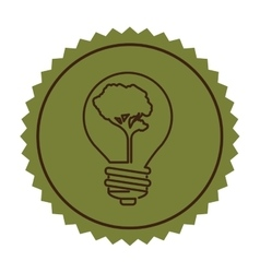 Stamp silhouette bulb with tree shape flat icon vector