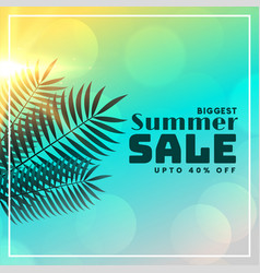 summer sale beautiful banner with leaves and vector image