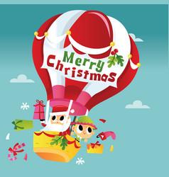 super cute merry christmas santa hot air balloon vector image