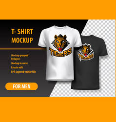 T-shirt mockup with tigers phrase in two colors vector