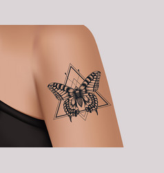 Tattoo on female shoulder mystic butterfly vector