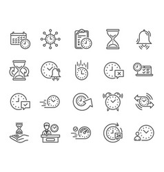 time line icons set of calendar time management vector image