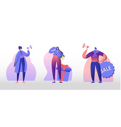 total sale set young man and woman shout in vector image