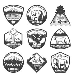 Vintage monochrome national park labels set vector