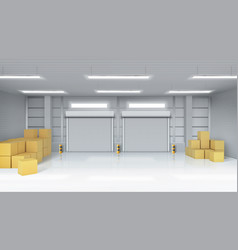 Warehouse interior with cardboard boxes vector