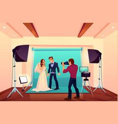 wedding studio photo shoot with bride and groom vector image