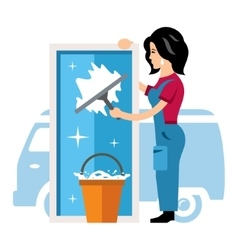 Window cleaning service Flat style vector
