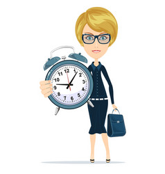 woman with alarm clock vector image