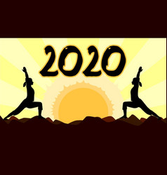 Yoga at sunset 2020 vector