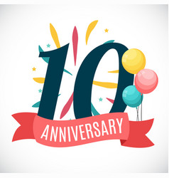 anniversary 10 years template with ribbon vector image