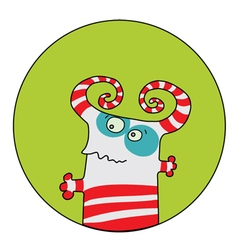 Color funny monsters on a green background vector image