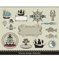 Marine elements vector image vector image