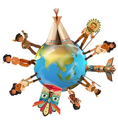 Native american indians around the world vector image vector image
