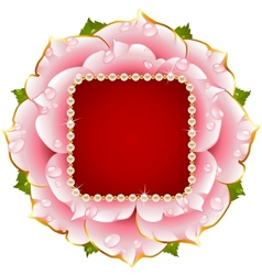 pink rose circle frame with pearl necklace vector image