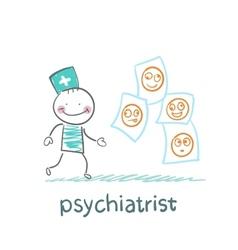 Psychiatrist studying photos of demented patients vector