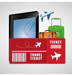 travel ticket smartphone baggage airplane vacation vector image