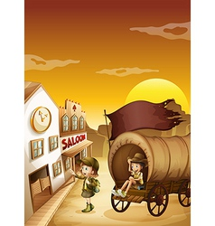 A wagon with kids near a saloon vector image