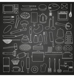 home kitchen tools and food outline icon on vector image vector image