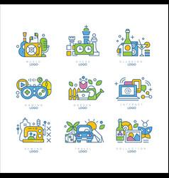 logo set music chess clubbing gaming garden vector image