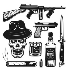 mafia and gangsters set of objects or elements vector image