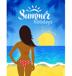 poster with young woman on beach vector image