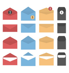 set of colored paper envelopes vector image vector image