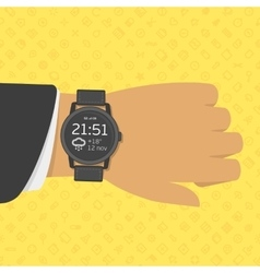 Smart watch on businessman hand vector image