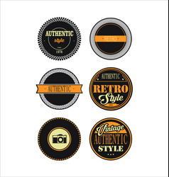 vintage labels black and yellow set 3 vector image vector image