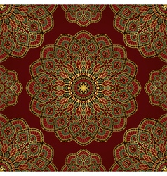 Red pattern of mandalas vector image